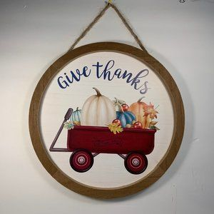 Give Thanks Little Red Wagon Pumpkins Wall Decor